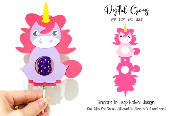 Unicorn Lollipop Holder Design Grafik 3D SVG von Digital Gems