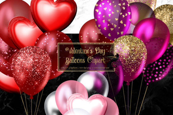Print on Demand: Valentine's Day Balloons Clip Art Graphic Illustrations By Digital Curio