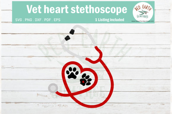 Download Free Vet Doctor Nurse Heart Stethoscope Graphic By Redearth And for Cricut Explore, Silhouette and other cutting machines.