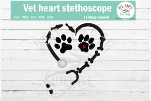 Vet Doctor Nurse Heart Stethoscope  Graphic Crafts By redearth and gumtrees