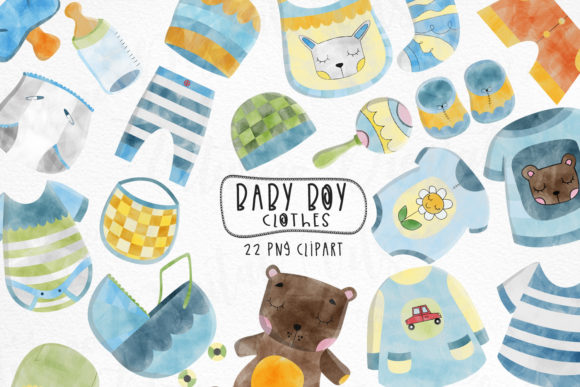 Watercolor Baby Boy Clothes Clipart Graphic Crafts By NotturnoClipArt