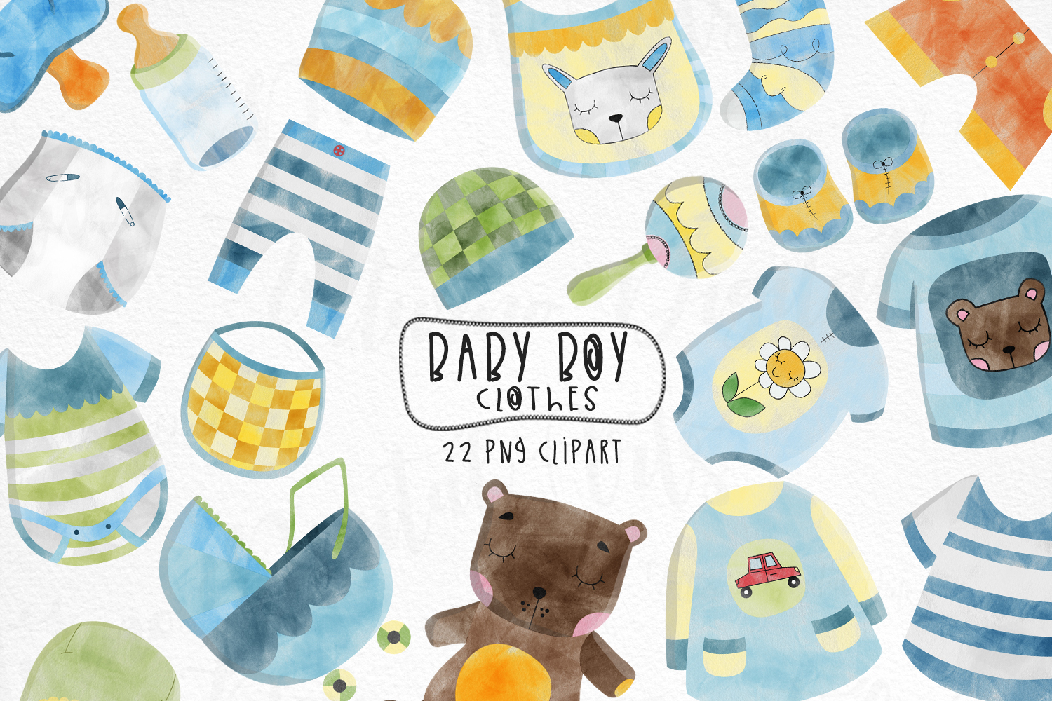 Watercolor Baby Boy Clothes Clipart SVG File
