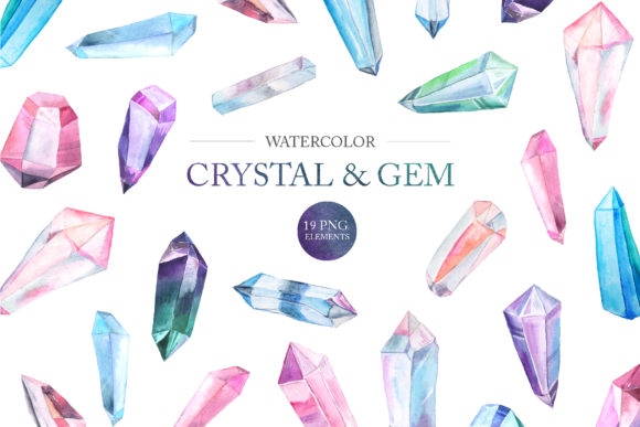 Watercolor Gem and Crystals Set Graphic Illustrations By Larysa Zabrotskaya