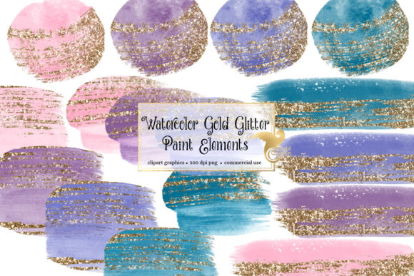 Print on Demand: Watercolor Gold Glitter Paint Elements Graphic Illustrations By Digital Curio