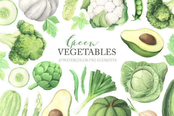Watercolor Green Vegetables Clipart Graphic Illustrations By Larysa Zabrotskaya