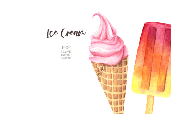 Download Free Watercolor Icecream Clipart Set 2 Graphic By Larysa Zabrotskaya for Cricut Explore, Silhouette and other cutting machines.