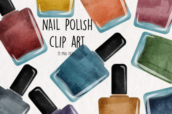 Watercolor Nail Polish Graphic Crafts By NotturnoClipArt