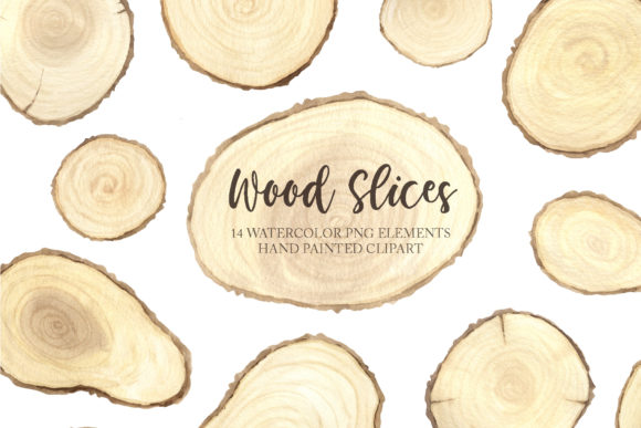 Watercolor Wooden Slices Set Graphic Illustrations By Larysa Zabrotskaya