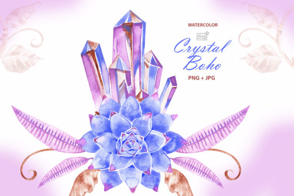 Watercolor Boho Crystal Clipart Graphic Illustrations By NataliMyaStore