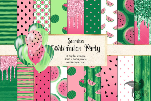 Print on Demand: Watermelon Party Digital Paper Grafik Muster von Digital Curio