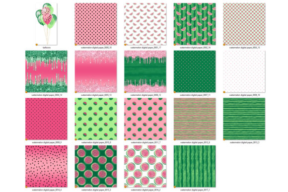 Print on Demand: Watermelon Party Digital Paper Graphic Patterns By Digital Curio - Image 4