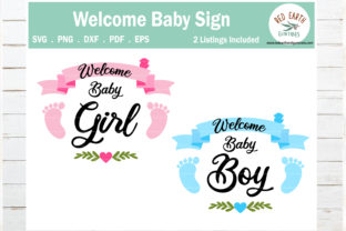 Print on Demand: Welcome Baby Girl and Baby Boy Sign Graphic Crafts By redearth and gumtrees