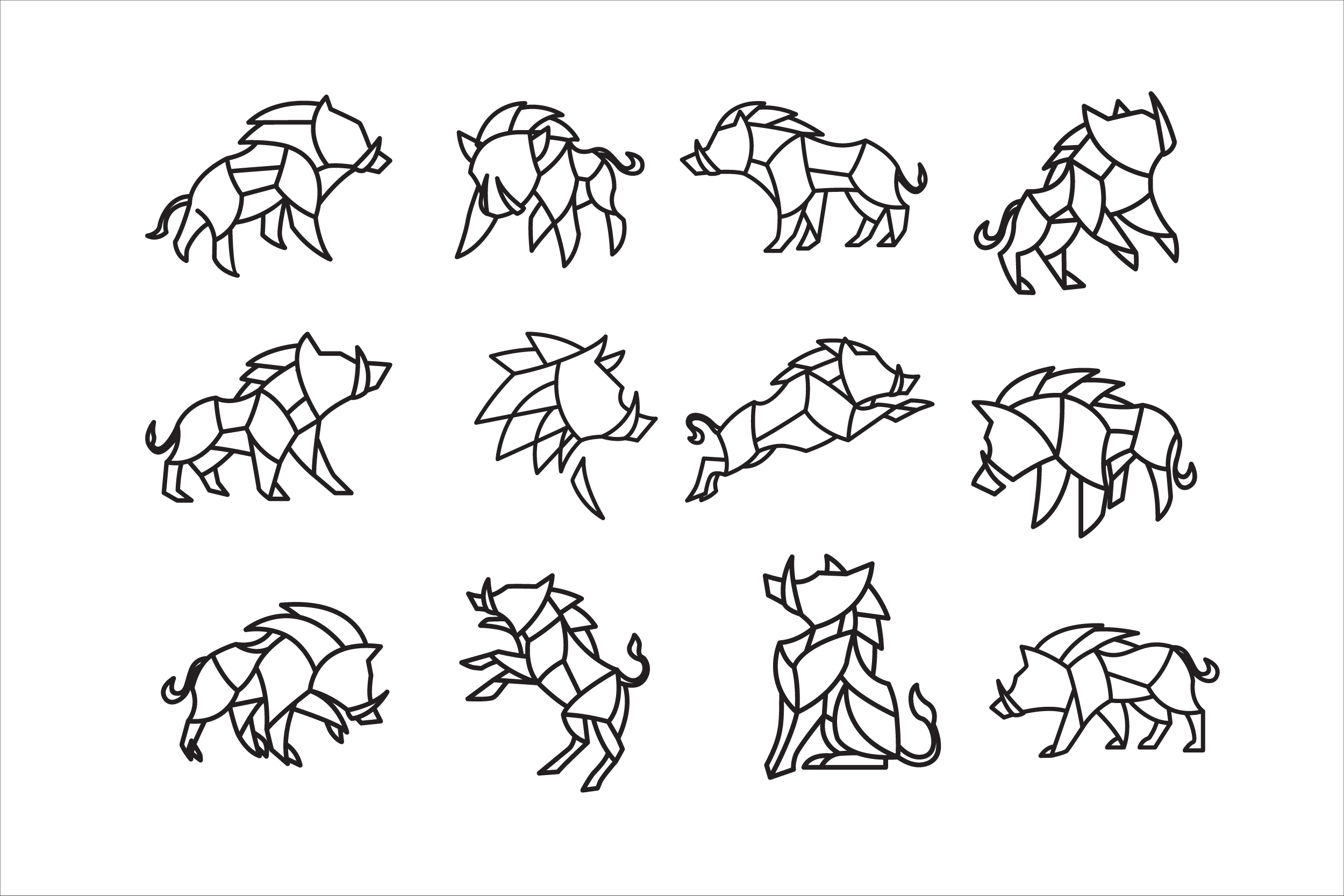 Download Free Pack Of Geometric Boar Vector Templates Graphic By Aksa Inov008 for Cricut Explore, Silhouette and other cutting machines.
