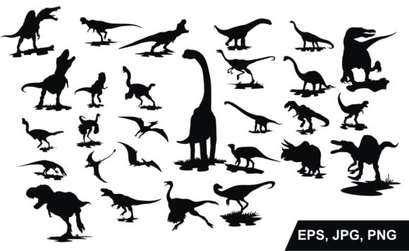 Print on Demand: Set of Dinosaur Silhouette Vector Graphic Crafts By Arief Sapta Adjie