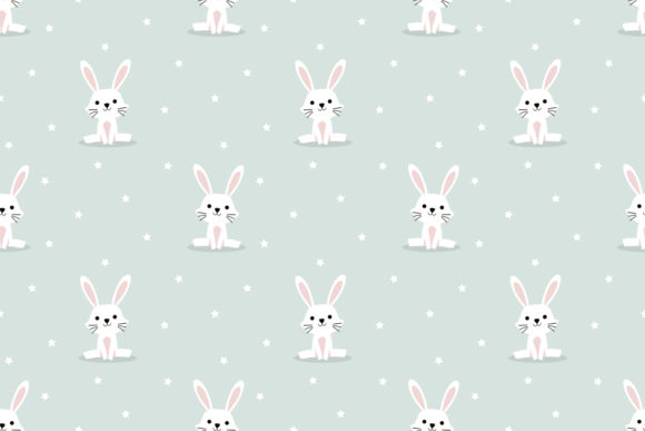 Download Free White Rabbit And Tiny Star Seamless Graphic By Thanaporn Pinp for Cricut Explore, Silhouette and other cutting machines.
