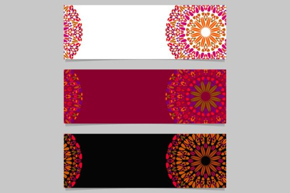 3 Floral Mandala Banner Backgrounds Graphic Web Elements By davidzydd