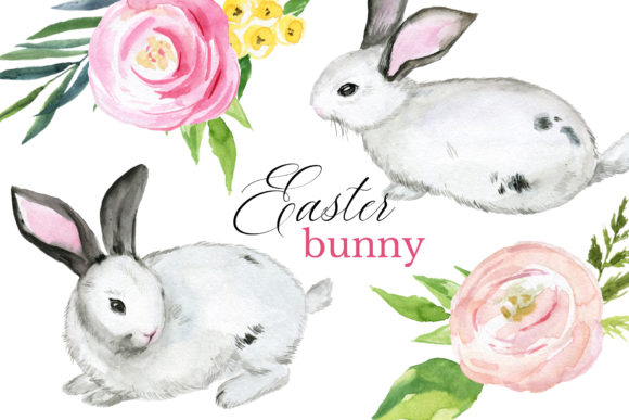 Bunny Easter Watercolor Clipart Set Graphic Illustrations By lena-dorosh