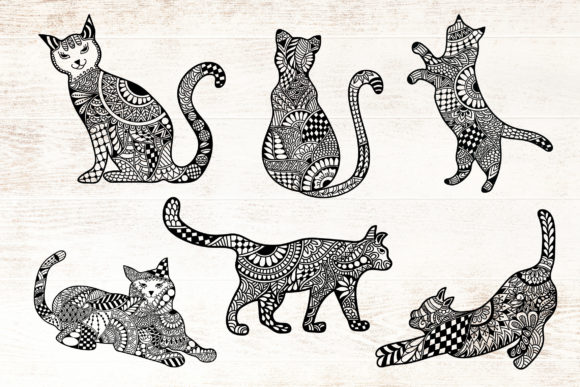 Print on Demand: Cat Zentangle - Doodle Art Bundle Graphic Crafts By Dasagani