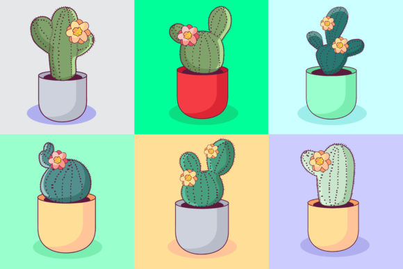 Download Free Kawaii Cactus Illustration Concept Graphic By Azman Creative for Cricut Explore, Silhouette and other cutting machines.