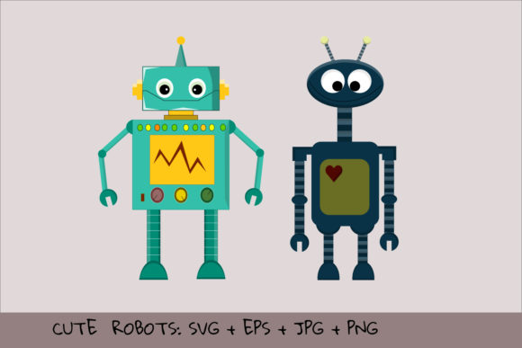 Cute Vector Robots Graphic Objects By Igraphic Studio