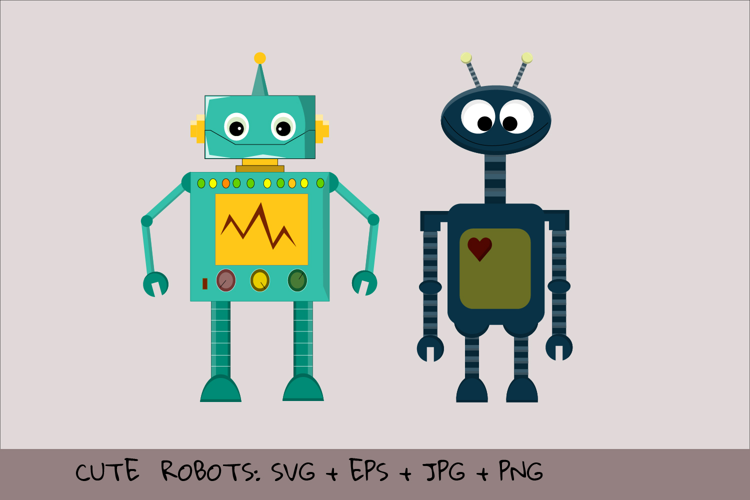 Download Free Cute Vector Robots Graphic By Igraphic Studio Creative Fabrica for Cricut Explore, Silhouette and other cutting machines.
