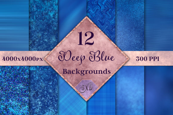 Print on Demand: Deep Blue Backgrounds - 12 Image Set Graphic Backgrounds By SapphireXDesigns