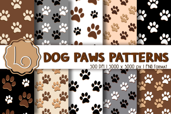 Print on Demand: Dog Paws Patterns Grafik Muster von La Oliveira