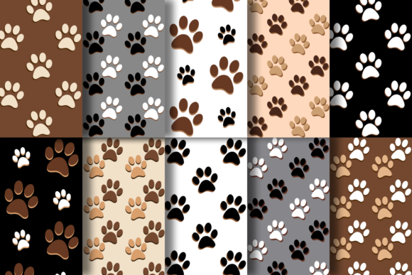 Print on Demand: Dog Paws Patterns Graphic Patterns By La Oliveira - Image 2