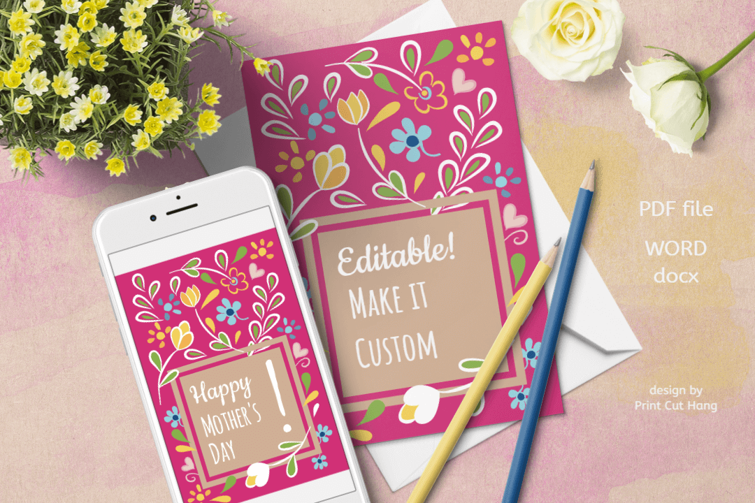 Download Free Happy Mother S Day Pink Floral Cards Graphic By Print Cut Hang for Cricut Explore, Silhouette and other cutting machines.