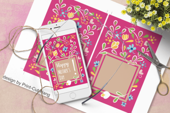 Happy Mother S Day Pink Floral Cards Graphic By Print Cut Hang