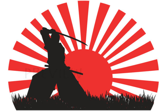 Print on Demand: Japanese Samurai Warrior Red Rising Sun Graphic Illustrations By SunandMoon