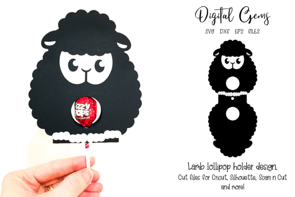Download Free Lamb Lollipop Holder Design Graphic By Digital Gems Creative for Cricut Explore, Silhouette and other cutting machines.
