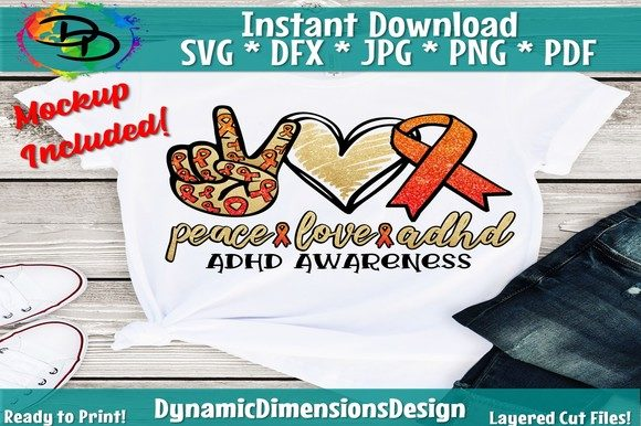 Peace Love Adhd, Adhd  Graphic Crafts By dynamicdimensions