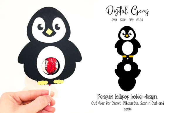 Penguin Lollipop Holder Design Grafik 3D SVG von Digital Gems