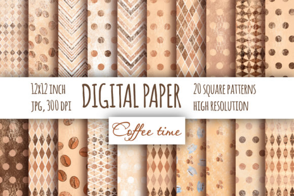Print on Demand: Shabby Coffee Digital Paper. Graphic Patterns By bunart