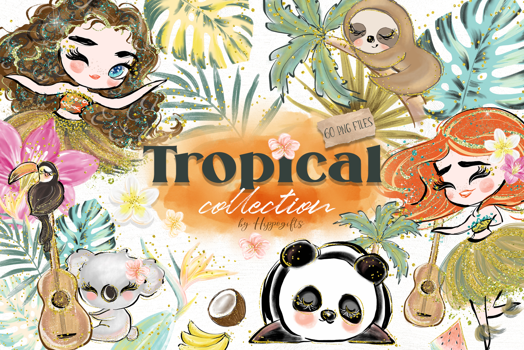Download Free Tropical Illustration Graphic By Hippogifts Creative Fabrica SVG Cut Files