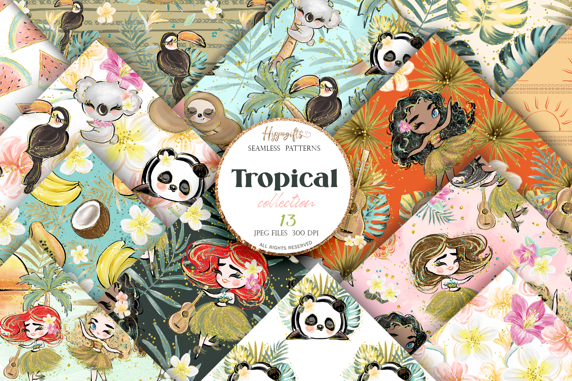 Download Free Tropical Summer Patterns Grafico Por Hippogifts Creative Fabrica for Cricut Explore, Silhouette and other cutting machines.