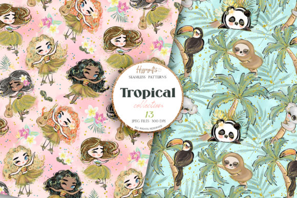 Tropical Summer Patterns Graphic Patterns By Hippogifts - Image 2
