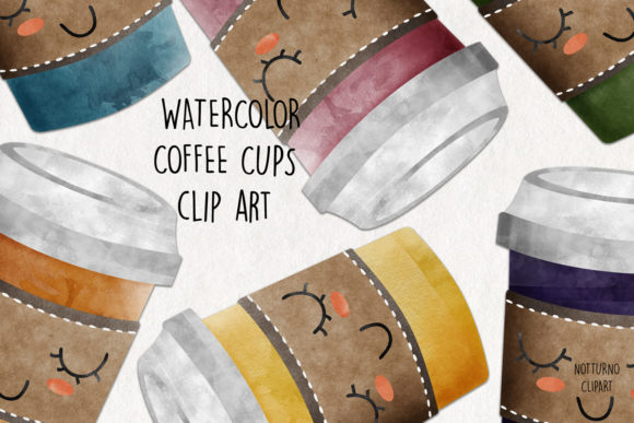 Watercolor Coffee Cups Clip Art Graphic Crafts By NotturnoClipArt