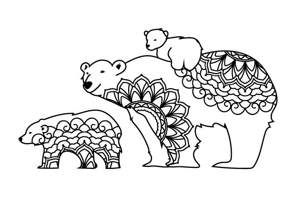 Mom and Baby Polar Bears Mandalas Craft Cut File By Creative Fabrica Crafts