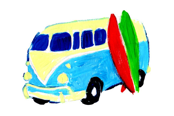 Retro Van with Surfboards Summer Craft Cut File By Creative Fabrica Crafts - Image 1