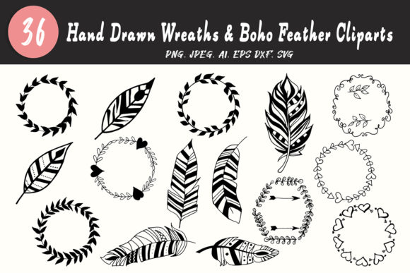 Download Free 30 Wreaths Boho Feather Cliparts Graphic By Creative Tacos for Cricut Explore, Silhouette and other cutting machines.