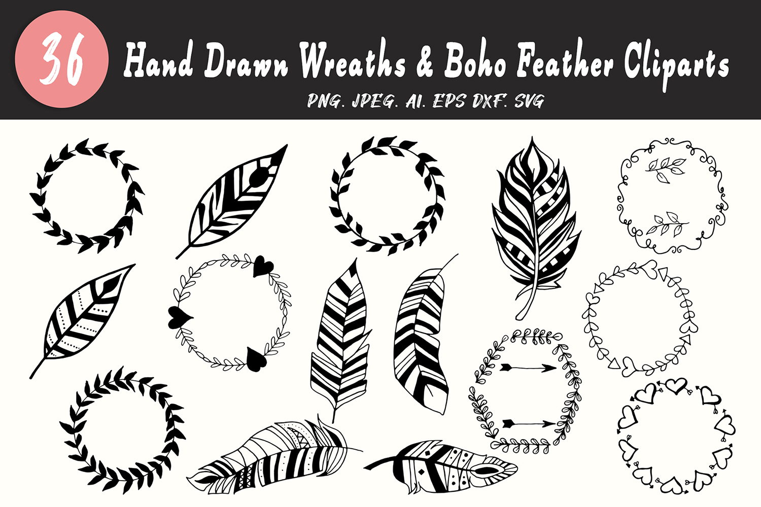 Download Free 30 Wreaths Boho Feather Cliparts Graphic By Creative Tacos SVG Cut Files