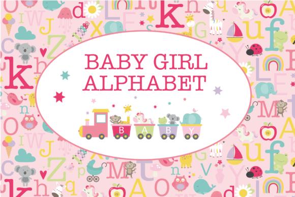 Print on Demand: Baby Girl Alphabet Graphic Illustrations By poppymoondesign