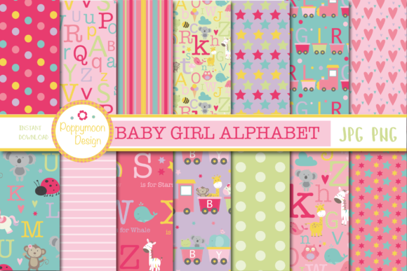 Print on Demand: Baby Girl Alphabet Papers Grafik Muster von poppymoondesign