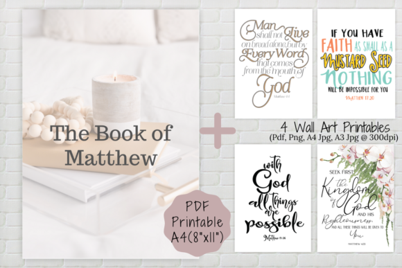 Print on Demand: Book of Matthew Printable, Wall Art Graphic Print Templates By The Little Crafty Shop