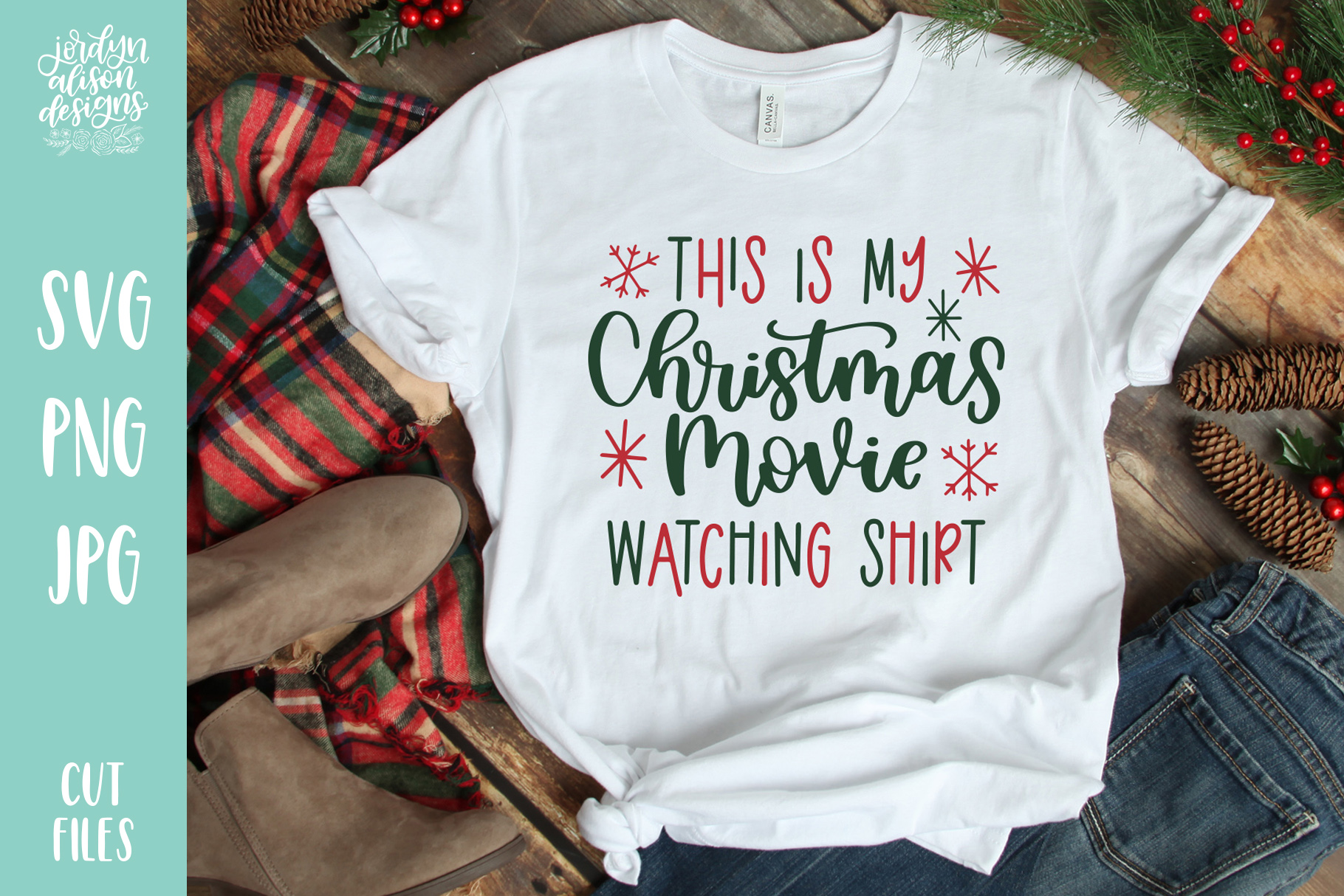 Download Free Christmas Movie Watching Shirt Graphic By Jordynalisondesigns for Cricut Explore, Silhouette and other cutting machines.