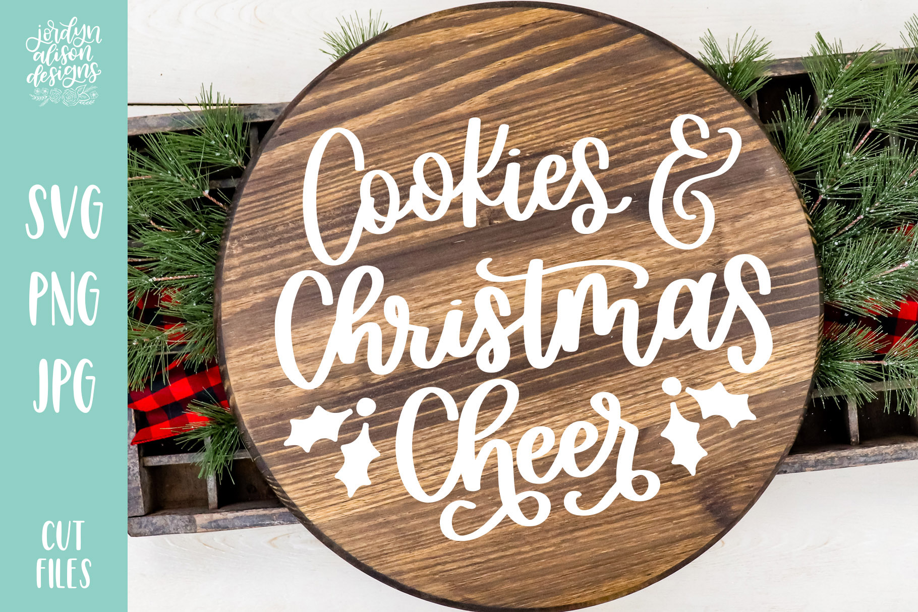 Download Free Cookies And Christmas Cheer Cut File Graphic By for Cricut Explore, Silhouette and other cutting machines.