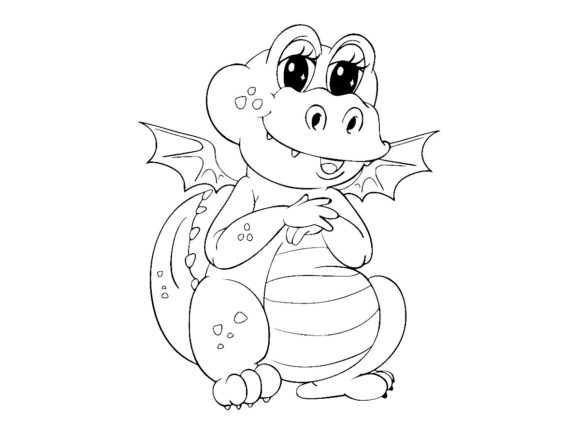 Print on Demand: Cute Dragon Line Art Vector Illustration Graphic Coloring Pages & Books Kids By ermannofficial