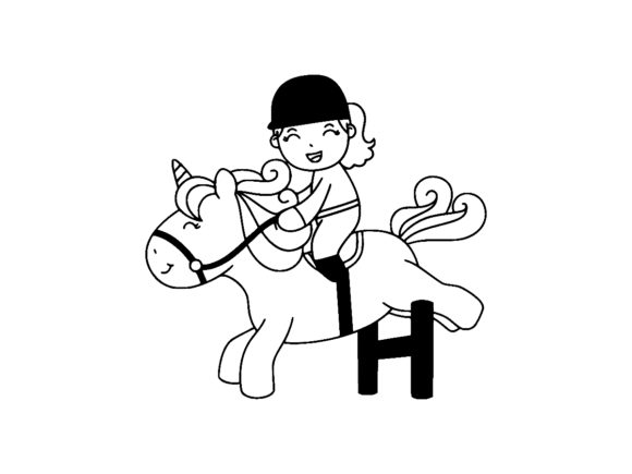 Print on Demand: Cute Girl Raiding Unicorn Line Art Graphic Coloring Pages & Books Kids By ermannofficial